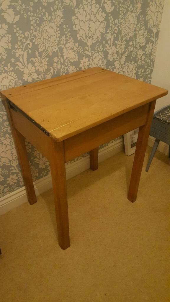 vintage, traditional, old wooden school desk