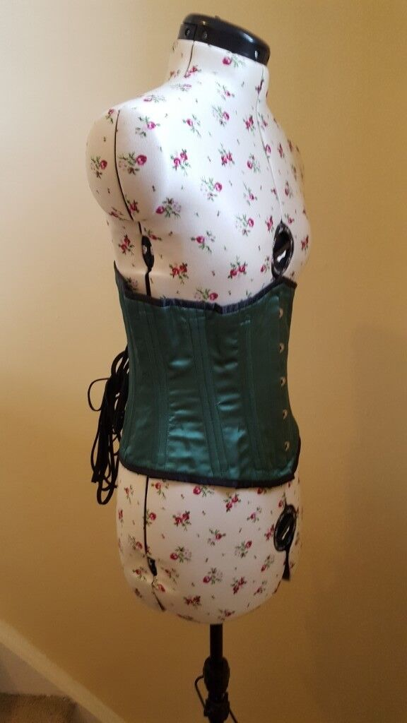 682c2b55af Ladies uk 12-14 green satin underbust corset steel boned black edging lace  back hook and eye front