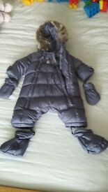 Purple baby 3 month all in one coat with gloves and feet