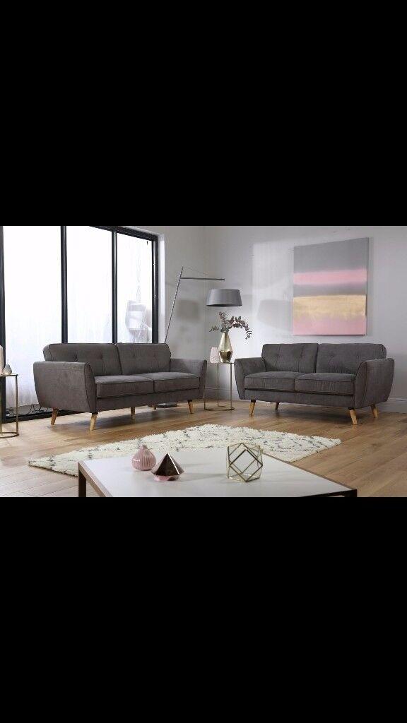 Stylish Slate Grey 3 piece suite, like new! NOW HALF PRICE!