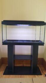 Fish tank , stand , heater , air pump & decorations