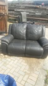 brown leather 2 seater sofa settee