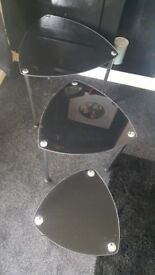 Nest of 3 black glass tables