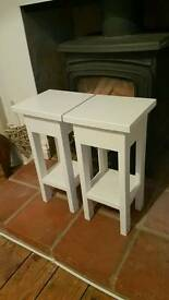 Pair handmade bespoke small occasional tables drink lamp sofa thin legged white satin