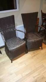 2 wicker dining chairs