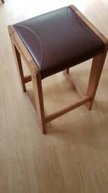 Wood and leather retro stool