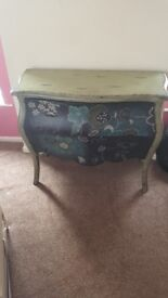 Teal Floral Print Chest of Draws