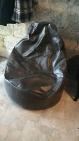 Large faux leather bean bag