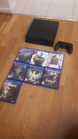 PS4 500gb with gamepad and 7 games, great condition