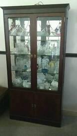 Mahogany glass display cabinet/ unit