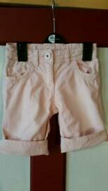Girls pink next shorts age 5