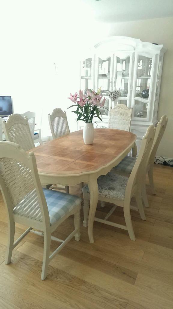French Style Dining Table With Six Bergere Chairs Shabby Chic United Kingd