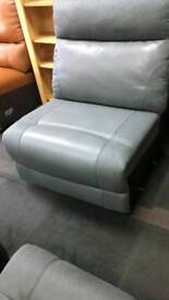 Grey fabric & leather single seat new