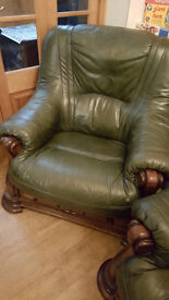 Sofa - Leather wood with draws 1, 2 and 3 Seater - Offers Please