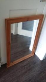 """Beech Effect Framed mirror 25"""" x 35"""""""