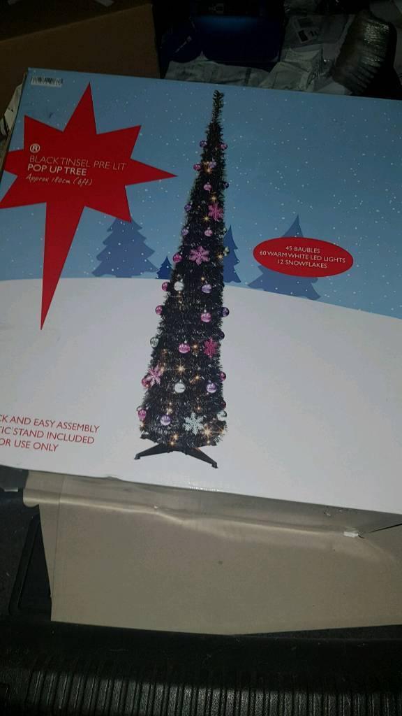 Christmas Tree 6ft Black Pop-up - Christmas Tree 6ft Black Pop-up In Loughor, Swansea Gumtree