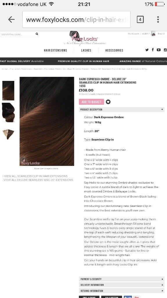 Foxylocks Ombre Hair Extensions Clip In