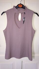 Dusky pink cut out choker neck top BRAND NEW WITH TAGS size 8