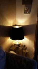 Beautiful exlarge gold lamp with black and gold shade