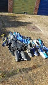 moto x / enduro clothing boots and 2 helmets