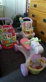 Baby walkers and ride along horse