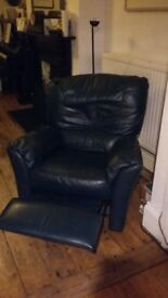 Fake leather reclining arm chair, dark blue good condition