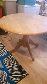 Round dining solid wood table