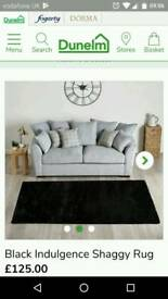 Extra large shaggy black indulgence rug