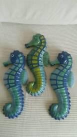 Set of three seahorses - wall decoration