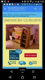 Stompa full bedroom set girls midsleeper bed, desk, units
