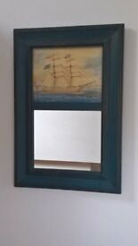 Rustic Mirror with Maritime Picture