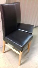 Italian Black Leather John Lewis dining room chairs x 4