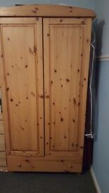 2 pine double wardrobes and bedside tables
