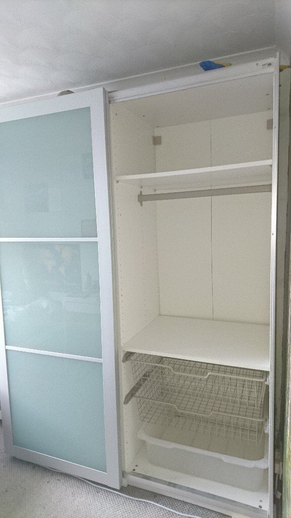 IKEA PAX Wardrobe with silver and opaque glass sliding doors | in ...
