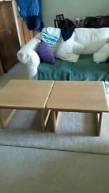Refurbished oak and oak veneer tables