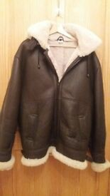 Mens genuine shearling leather flying jacket