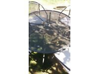 120cm diameter patio table and 4 chairs with cushions