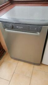 Silver Hotpoint Dishwasher . Good working order. Doesn't fit in our new kitchen.