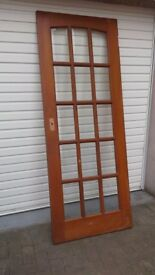 Wooden 15 panel bevelled glass door
