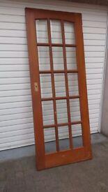 Wooden 15 panel bevelled glass door