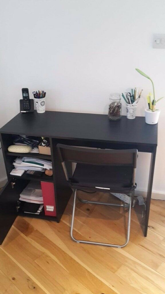 Black wood effect desk with shelves