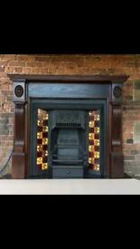 Original Victorian fireplace with solid soak surround