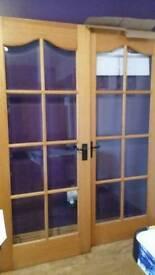 Pair of internal bevel glass doors rebated