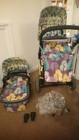 Cosatto firebird pram with bassinet, stroller and accessories