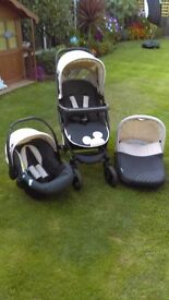 3 piece disney mickey mouse pram, pushchair, car seat set. Excellent condition.
