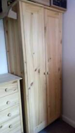 Solid pine double robe 2 x bedsides and 5draws