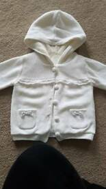 Girls cream fur-lined hooded cardigan age 6-9 months