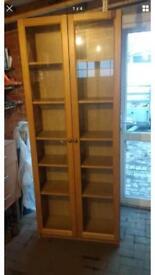 Ikea Billy light oak glass fronted 2 door cupboard