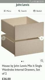 JOHN LEWIS MIXIT WARDROBE 50CM INTERNAL DRAWS X2 NEW BOXED