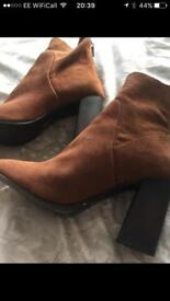 Next Size 5 Suede Tan Ankle Boots Brand New